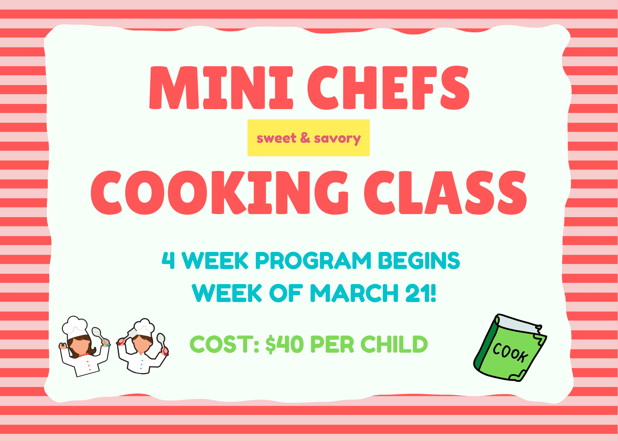 Mini Chefs Cooking Class March 2021 Program Promo